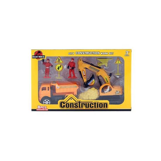 Geboorte versiering - Zand vrachtwagen speelgoed setje 8 delig